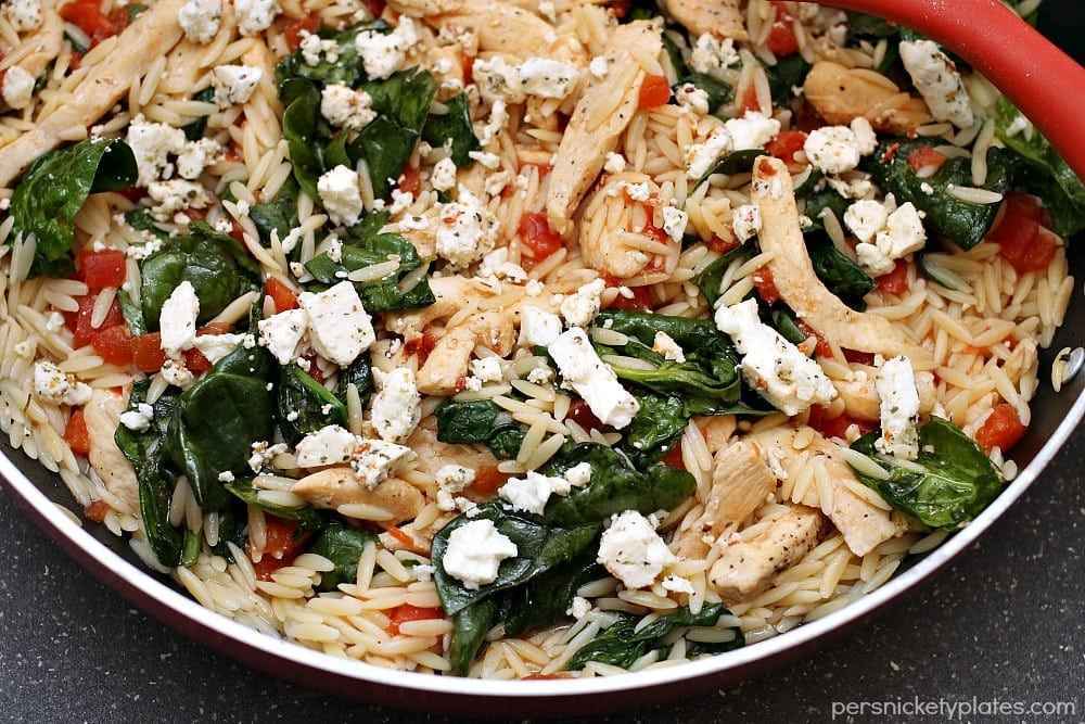 Chicken Spinach & Orzo Skillet   Persnickety Plates