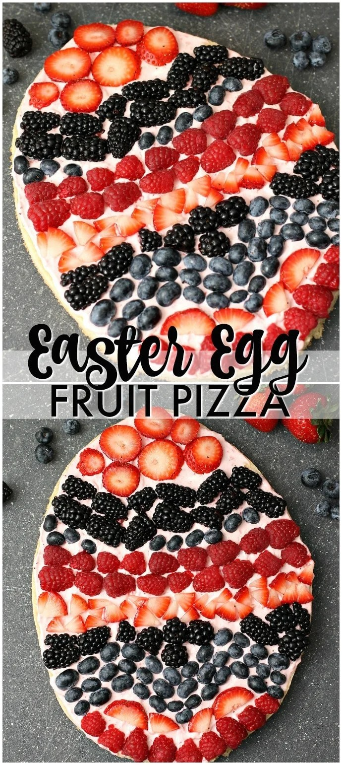 A sugar cookie base with a strawberry cream cheese frosting topped with fresh berries makes the perfect Easter Egg Fruit Pizza. Fun to decorate with the kids! | www.persnicketyplates.com #easter #fruit #sugarcookie #holidays #dessert via @pplates