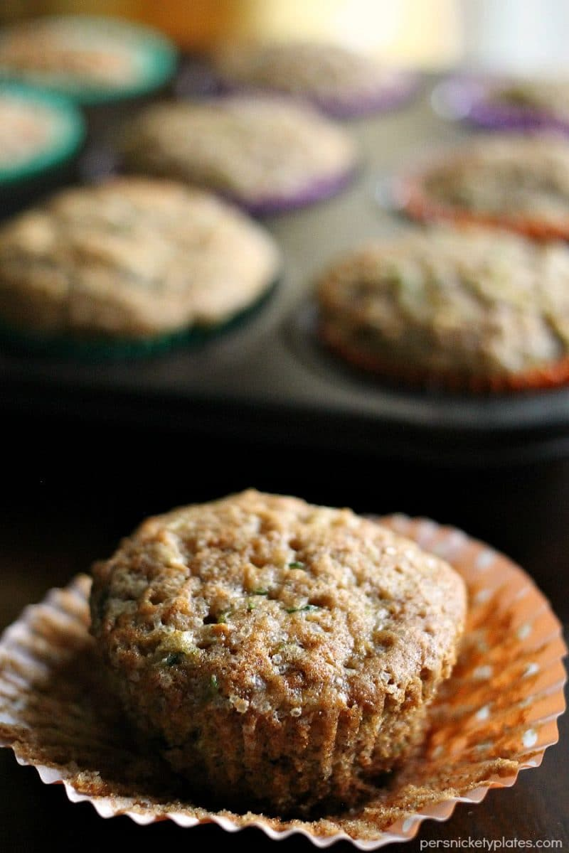 Apple Cinnamon Zucchini Muffins - a muffin with fruit and vegetables so you don't have to feel guilty about eating 3.   Persnickety Plates