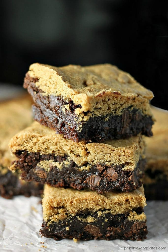 Peanut Butter Brookies - a layer of brownie topped with a layer of peanut butter cookies - the best of both worlds!   Persnickety Plates AD