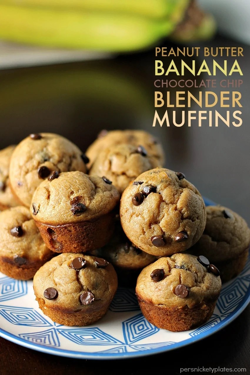 Peanut Butter Banana Chocolate Chip Blender Muffins - a simple, flourless muffin might right in the blender! | Persnickety Plates