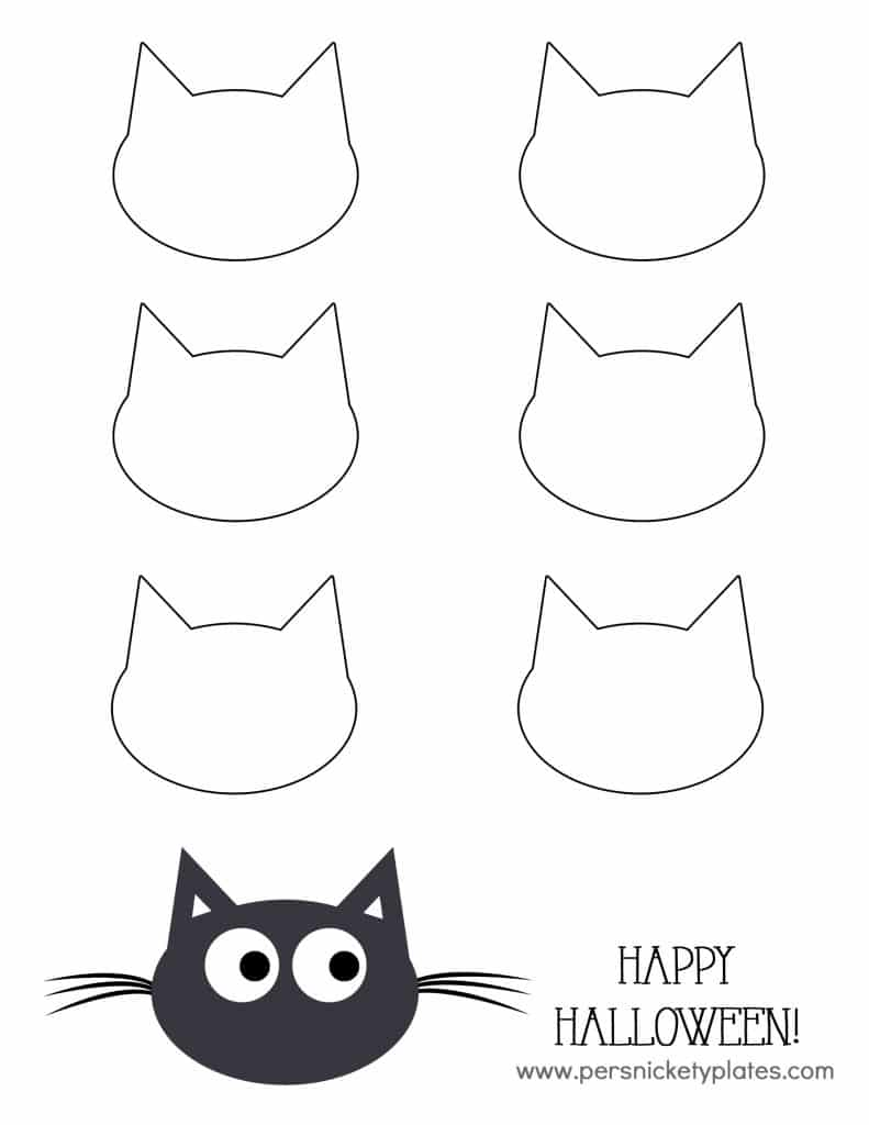 Black Cat Pudding Cup Template | Persnickety Plates