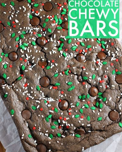 If you're struggling with a gift idea for just about anyone on your list this year, I've got an idea for you! Mix a homemade treat (like these Double Chocolate Chewy Bars) with a gift basket full of items to help the recipient pamper themselves. Thoughtful, useful, and delicious - you can't go wrong! | Persnickety Plates AD