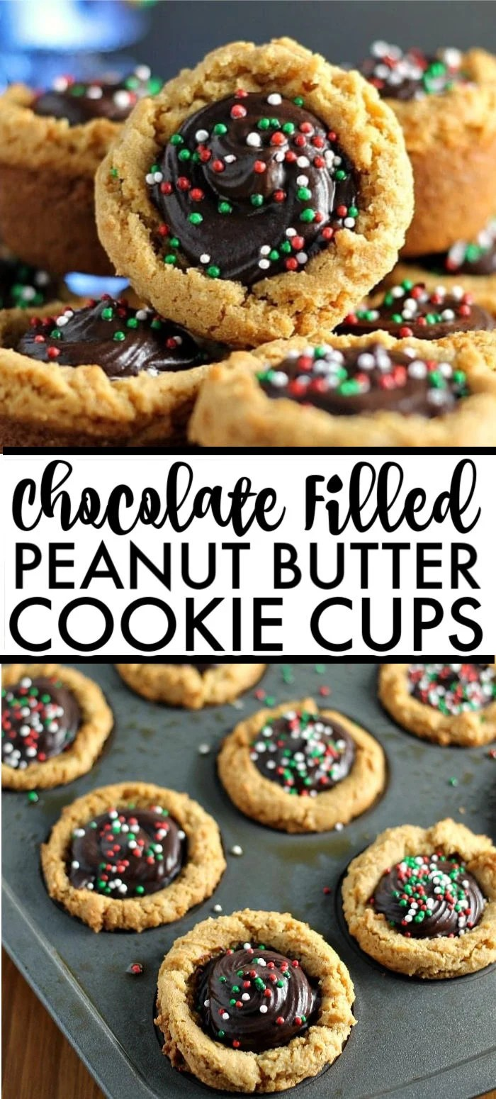 These semi-homemade Peanut Butter Cookie Cups filled with creamy chocolate ganache and topped with sprinkles are a definite crowd pleaser and are perfect as a last minute holiday dessert addition. Take a shortcut with a cookie mix and then make an easy chocolate ganache from scratch. | www.persnicketyplates.com #christmascookies #peanutbutter #chocolate #ganache #easyrecipe #semihomade #baking #dessert #cookies
