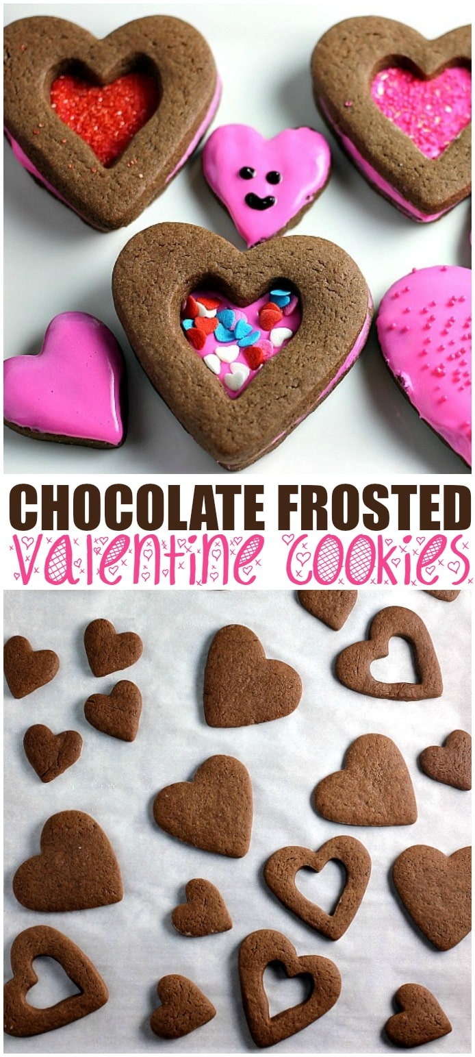 Chocolate Frosted Valentine Cookies start with a simple chocolate roll-out cookie base, frosted and sprinkled for Valentine's Day!   www.persnicketyplates.com via @pplates
