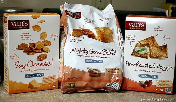 assortment of Van's gluten free crackers and chips
