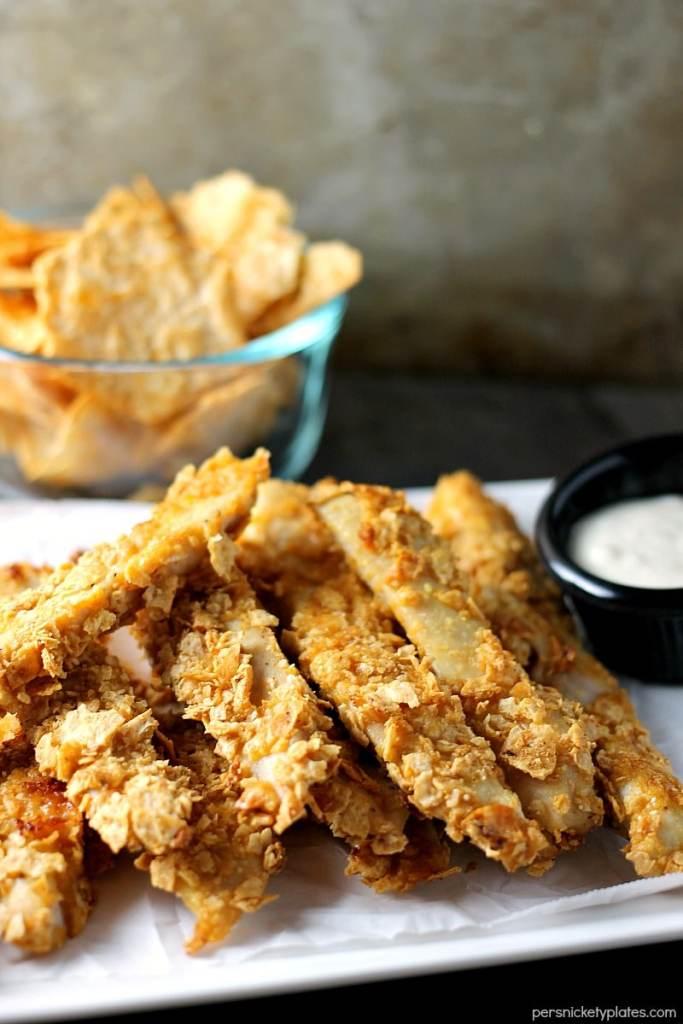 platter of Gluten free Crispy Baked BBQ Chicken Strips