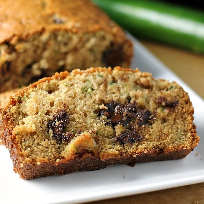slice of zucchini bread with melty chocolate chips