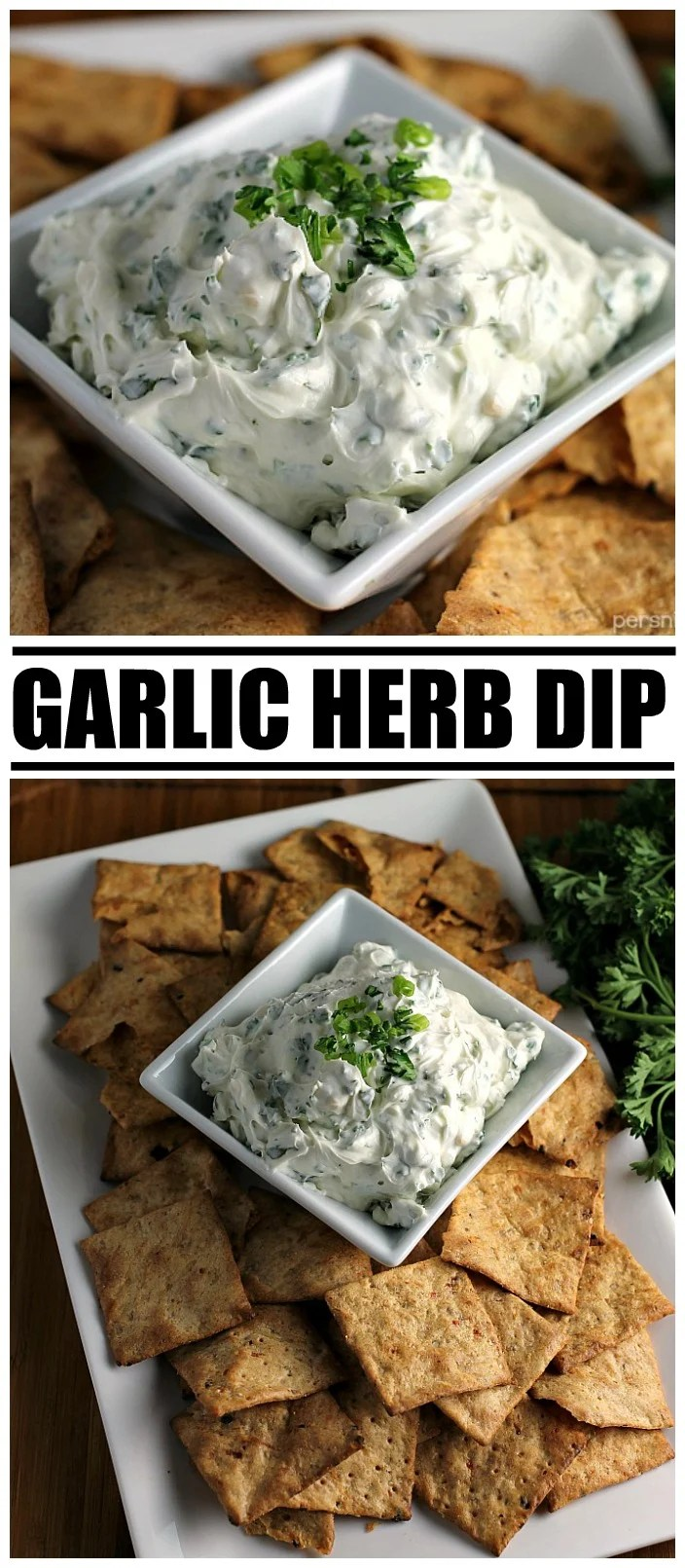 Garlic Herb Dip starts with a cream cheese base then is filled with fresh herbs. Pair this super easy dip recipe with crackers, chips, or veggies to make the perfect quick snack for your next party or game day.   www.persnicketyplates.com #dip #appetizer #easyrecipe #partyfood #garlic