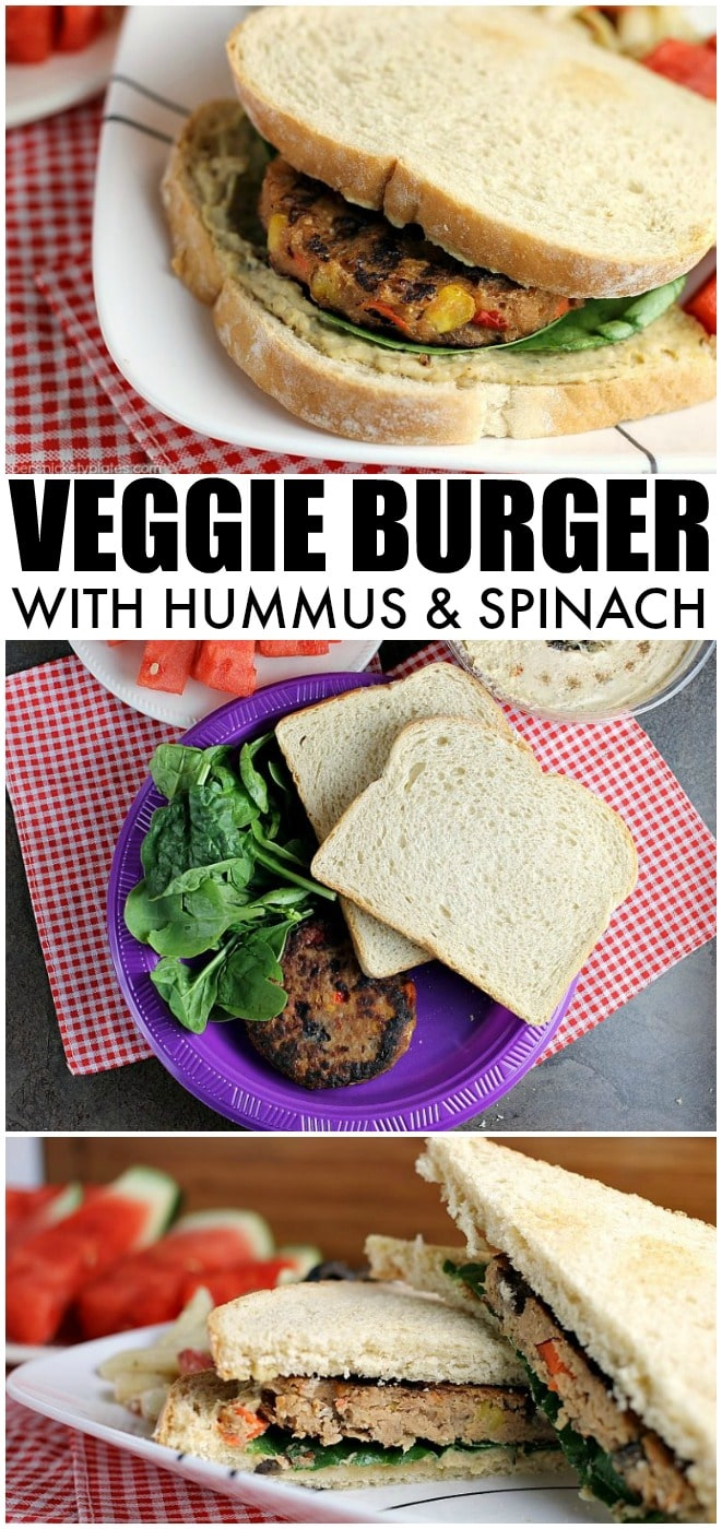 Vegetarians can enjoy barbecues, too! This Veggie Burger with Hummus and Spinach is the perfect alternative to traditional hamburgers for your next BBQ. | Persnickety Plates #AD via @pplates