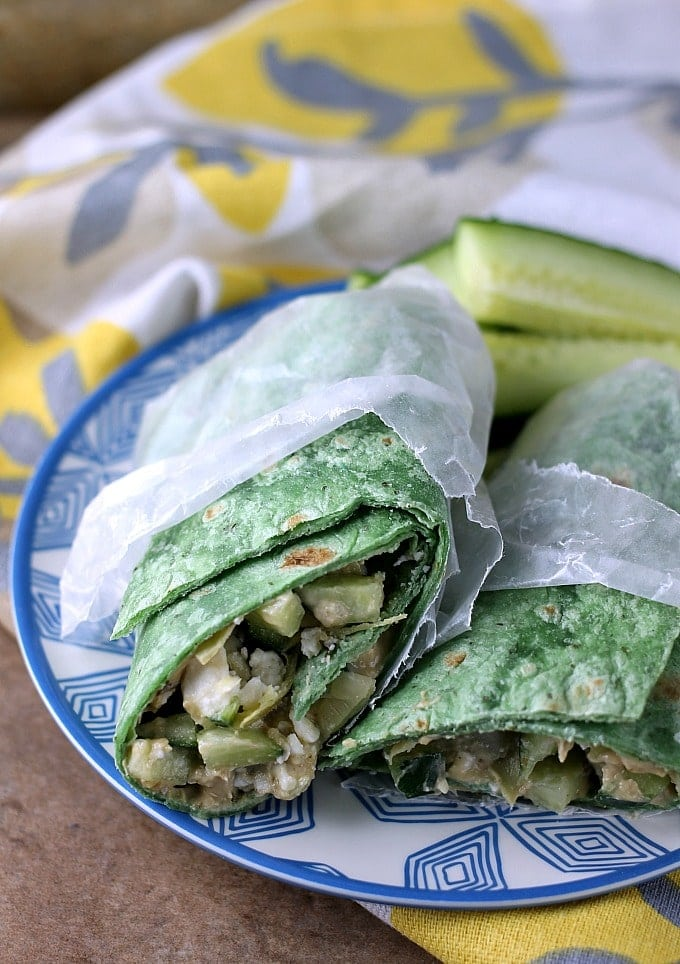Vegetarian Mediterranean Wrap is a fresh, healthy vegetarian sandwich that takes all of five minutes to throw together. It's great for an on-the-go lunch! | Persnickety Plates