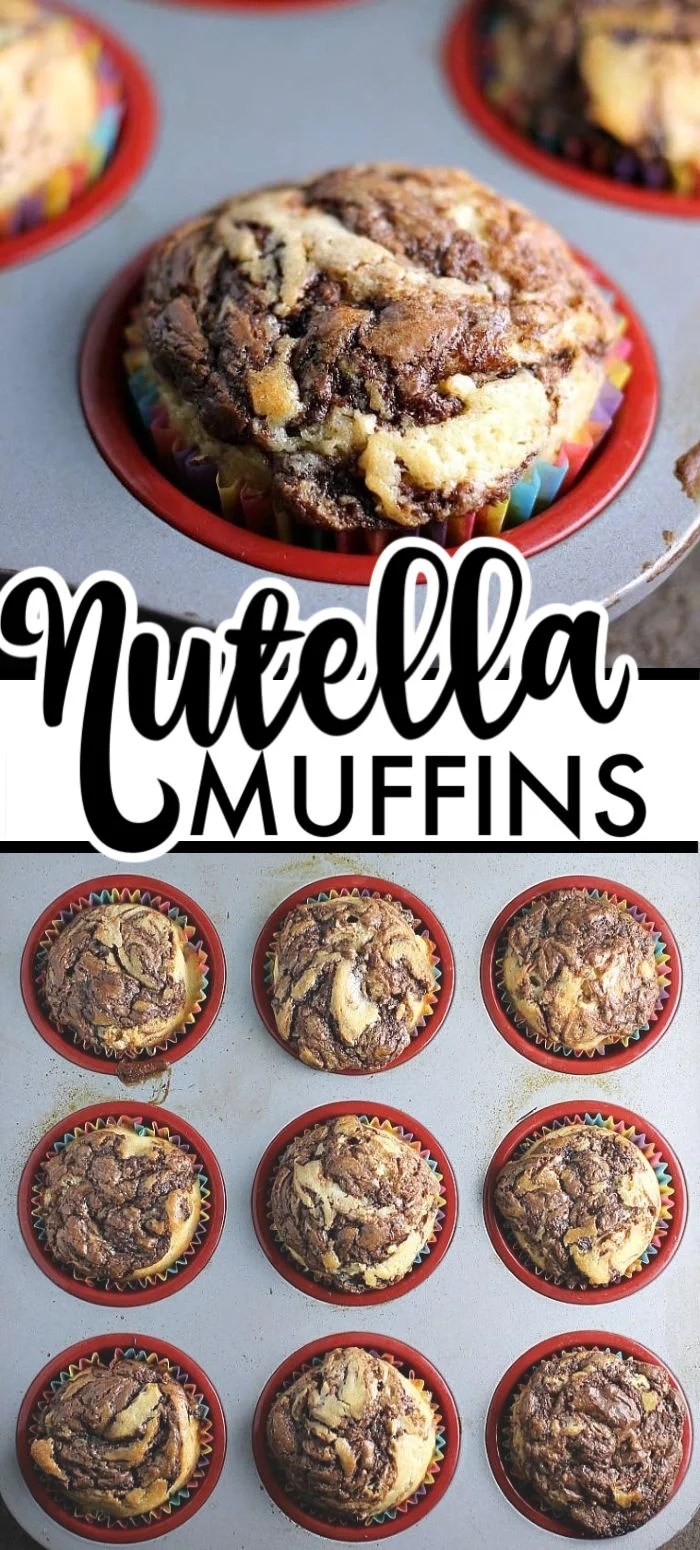 Nutella Muffins are a simple, moist muffin with a sour cream base, swirled with Nutella - you'll almost think you're eating a cupcake! | www.persnicketyplates.com #muffins #nutella #breakfast #easyrecipe