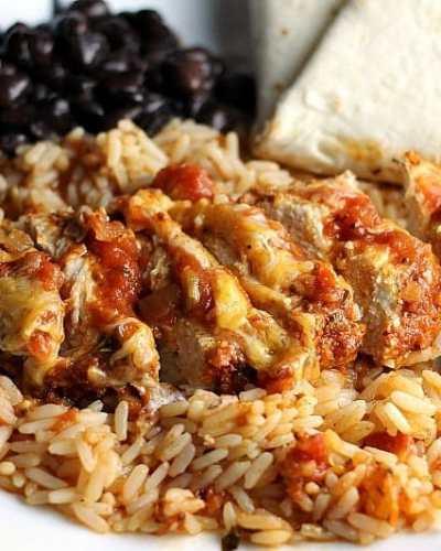 One Dish Baked Salsa Chicken Casserole