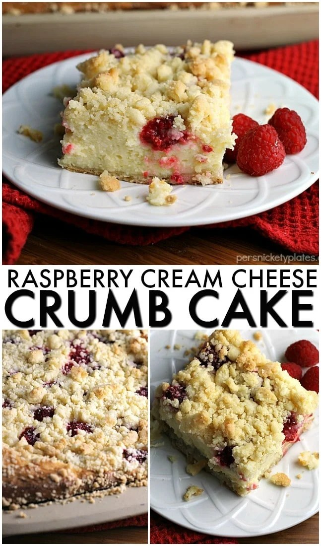 Raspberry Cream Cheese Crumb Cake is layered with a creamy cheesecake , fresh raspberries, and topped with a crunchy streusel topping. Perfect for brunch or dessert! | Persnickety Plates via @pplates