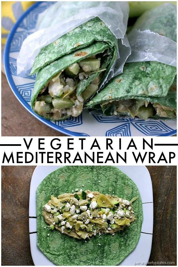 Vegetarian Mediterranean Wrap is a fresh, healthy vegetarian sandwich that takes all of five minutes to throw together. It's great for an on-the-go lunch! | Persnickety Plates via @pplates