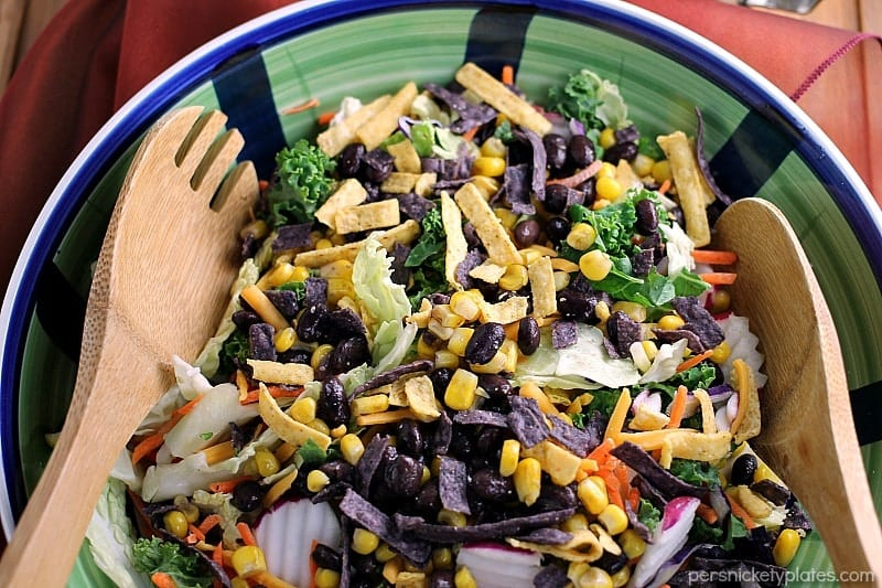 Southwest Fiesta Salad with a quick homemade spicy jalapeno dressing is a fast and healthy meal for any day of the week. | Persnickety Plates