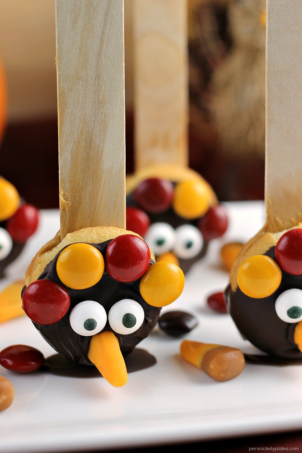 Nilla Wafer Thanksgiving Turkeys are cookies sandwiched together with peanut butter, dipped in chocolate, and decorated with fall colored M&Ms, candy corn, and candy eyes, all on a popsicle stick! So fun for the kids and festive for the Thanksgiving table!