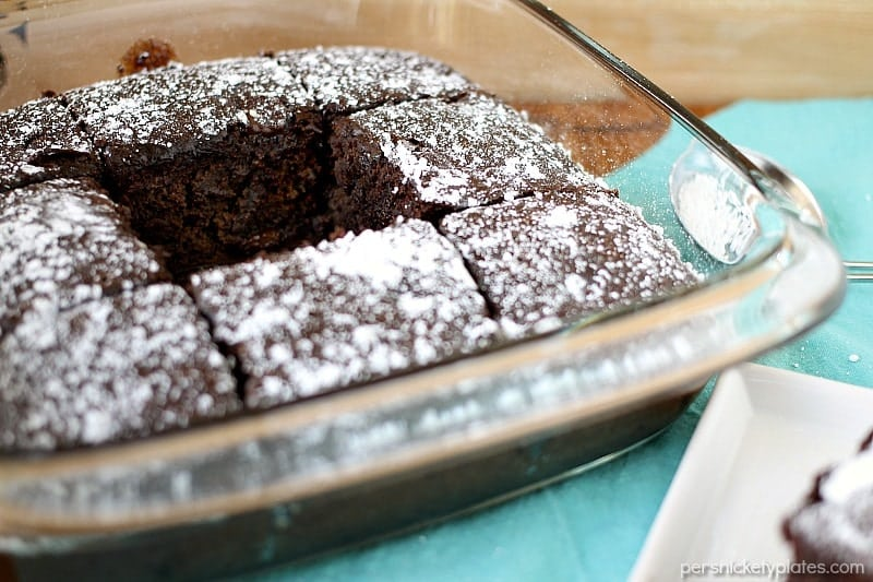 Chocolate Snack Cake is a simple, dairy-free, cake made from scratch that is perfect for the kids to help with! | www.persnicketyplates.com