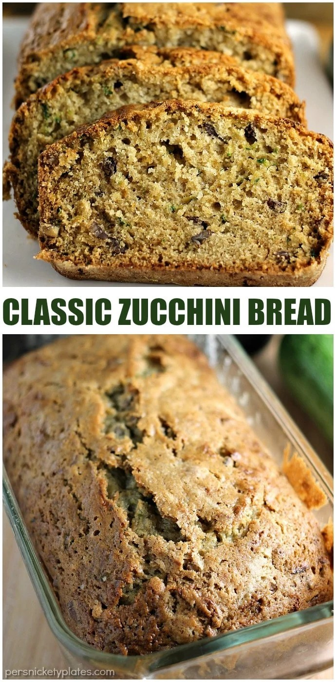 Classic Zucchini Bread filled with pecans (and sometimes chocolate chips!) is a simple but delicious way to use up your summer zucchini crop.