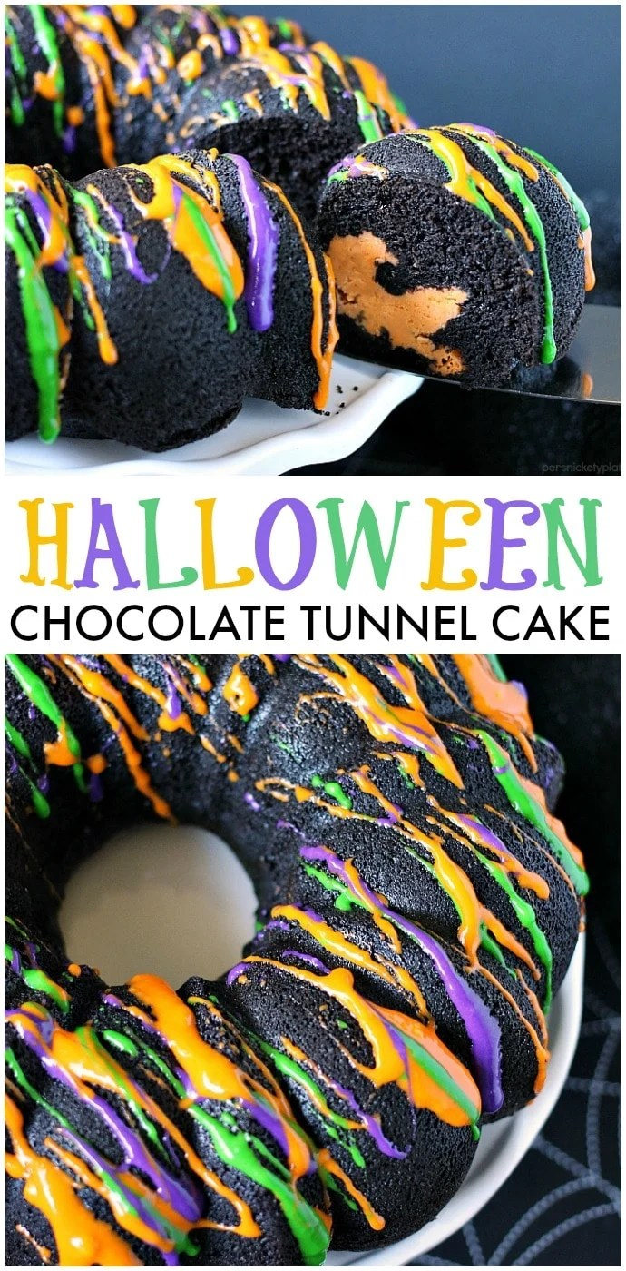 Halloween Chocolate Tunnel Cake is a moist, from scratch, dark chocolate cake filled with a tunnel of orange cheesecake center and drizzled with a cream cheese frosting. Just the right amount of festive and spooky for your Halloween party! | www.persnicketyplates.com