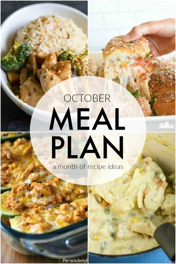 If you struggle to plan dinner ideas every night like me, we have some recipe ideas for you. This October Meal Plan will help make dinner quick and easy. | persnicketyplates.com