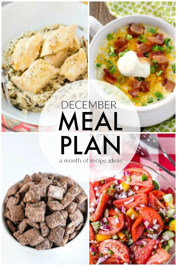 Four weeks worth of ideas with dinner, side dishes, and dessert recipes to help you meal plan for December with ease. | www.persnicketyplates.com via @pplates
