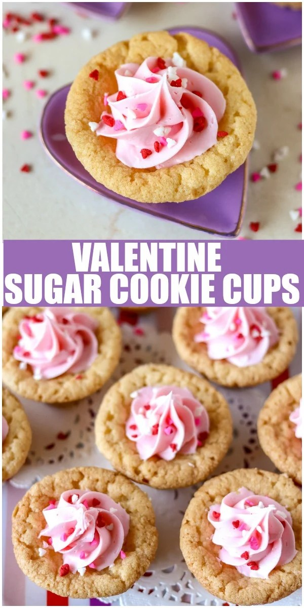 Valentine Sugar Cookie Cups are a simple, semi-homemade treat that you can whip up in no time! A sugar cookie base filled with pink frosting and topped with Valentine sprinkles. | www.persnicketyplates.com via @pplates