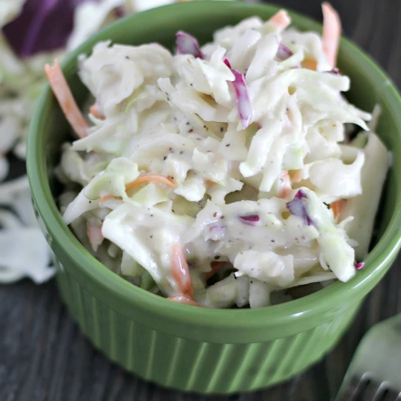 close up of creamy coleslaw
