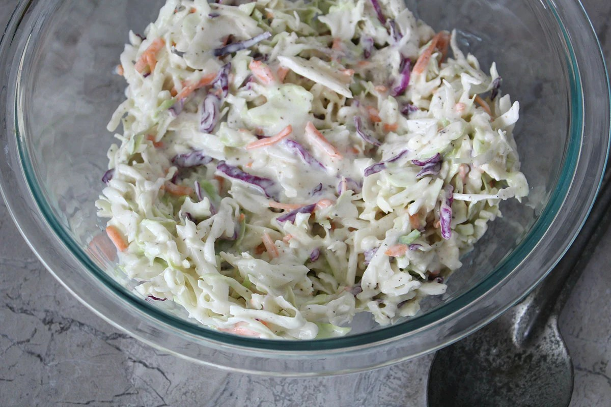 coleslaw in mixing bowl