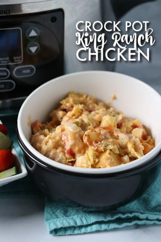 bowl of king ranch chicken casserole in front of crock pot
