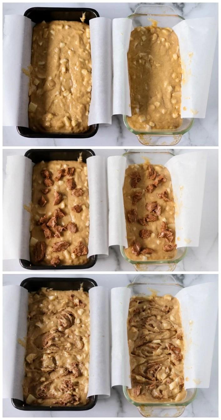 apple cinnamon swirl bread in loaf pans
