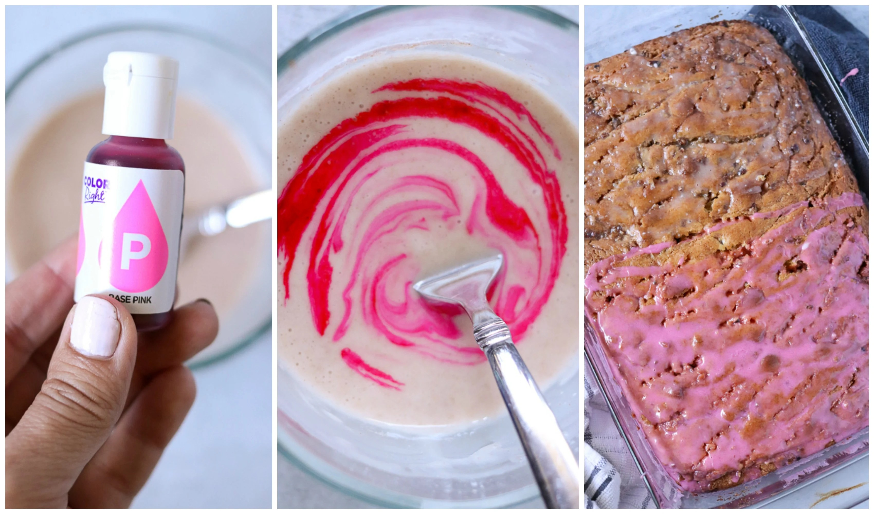 pink food coloring in frosting collage