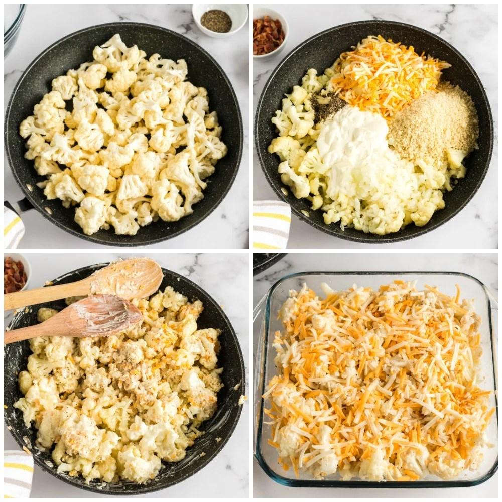collage of cauliflower in sauce pan making casserole