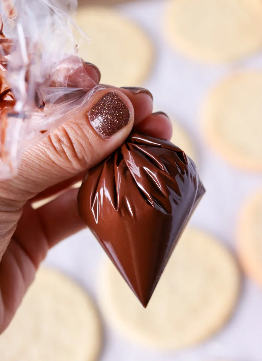 melted chocolate in plastic bag for decorating