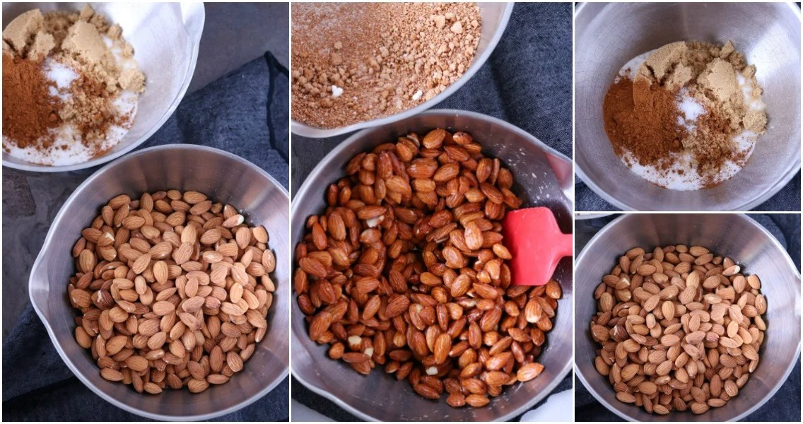 collage of almonds in mixing bowl making candied almonds