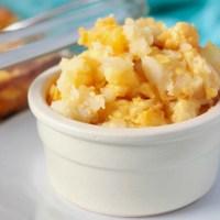 bowl of cheesy potato casserole