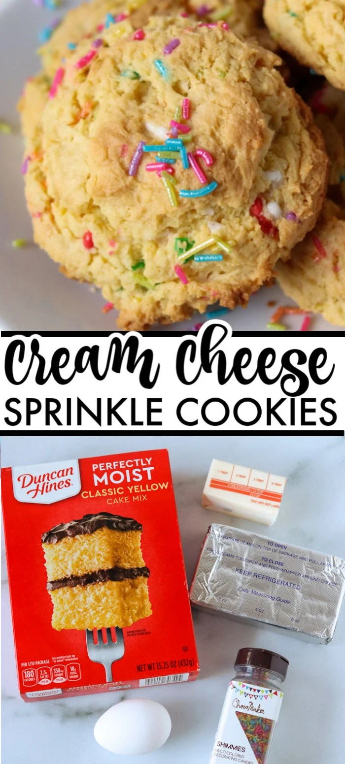 These five ingredient, semi-homemade Cream Cheese Sprinkle Cookies are simple and festive for the holidays or any time of year. | www.persnicketyplates.com #cookies #christmascookies #semihomemade #creamcheese #easyrecipe #sprinkles via @pplates