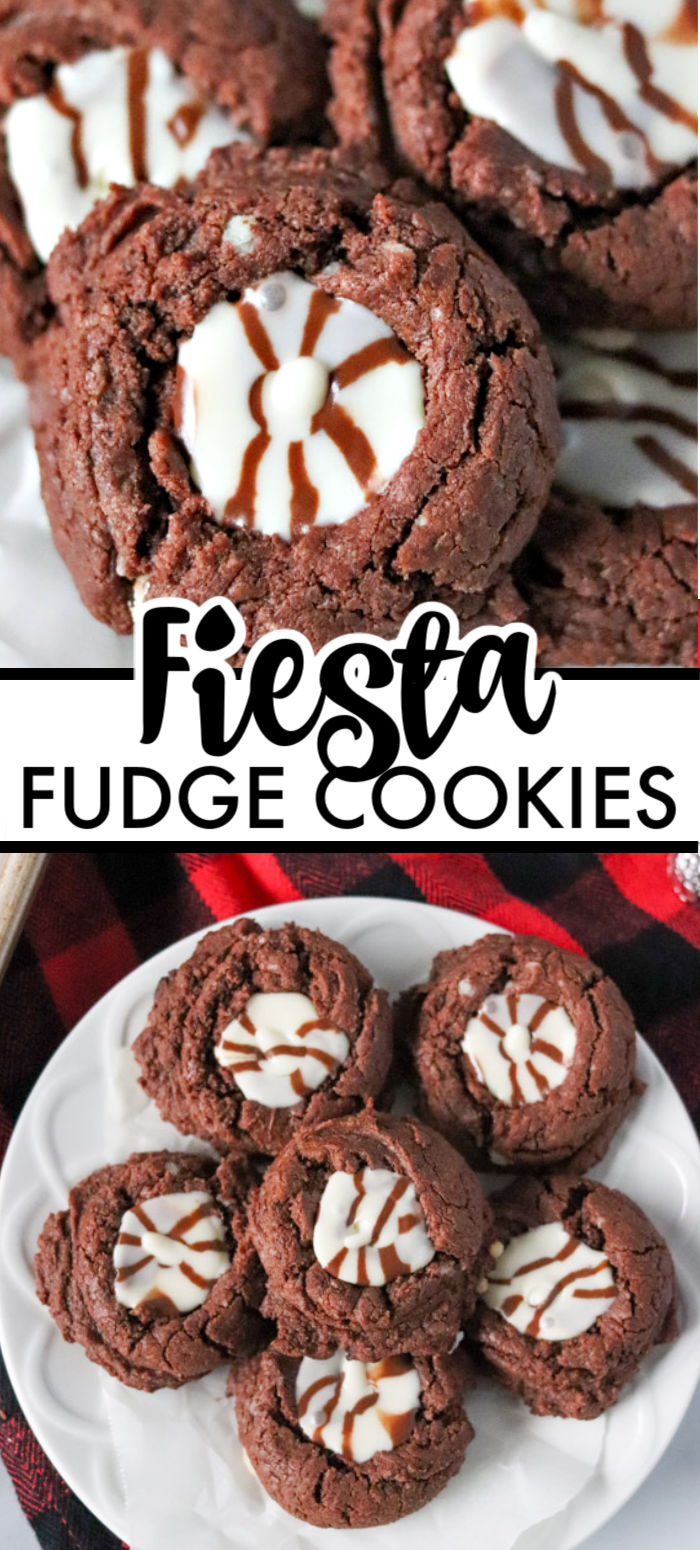 Only five ingredients in these super simple Fiesta Fudge Cookies topped with Hershey's Hugs. These easy Christmas cookies are perfect for a cookie exchange! | www.persnicketyplates.com #christmascookies #fudgecookies #semihomemade #cookies #easyrecipe