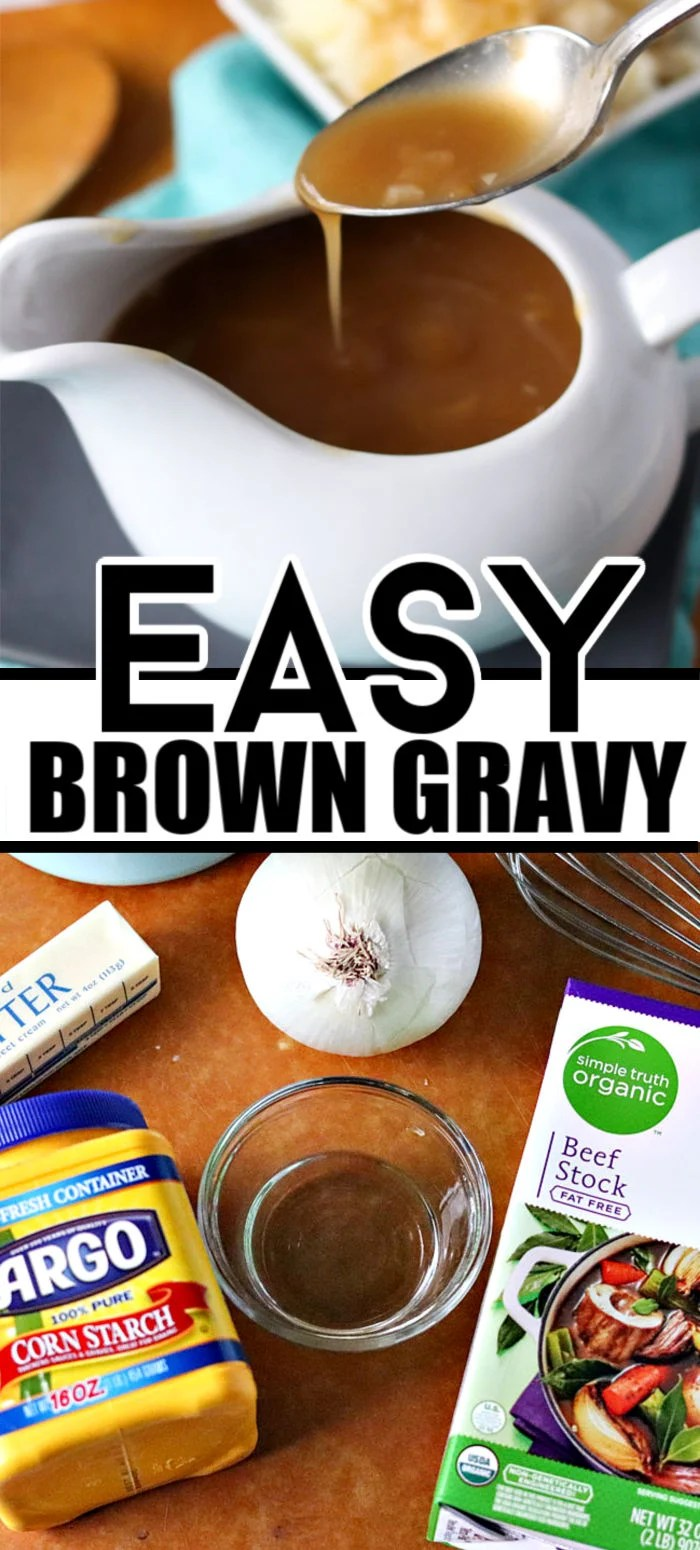 This easy brown gravy recipe, made without drippings, is perfect on meatloaf, potatoes, or whatever you like gravy on! | www.persnicketyplates.com #gravy #browngravy #easyrecipe #dinner #comfortfood via @pplates