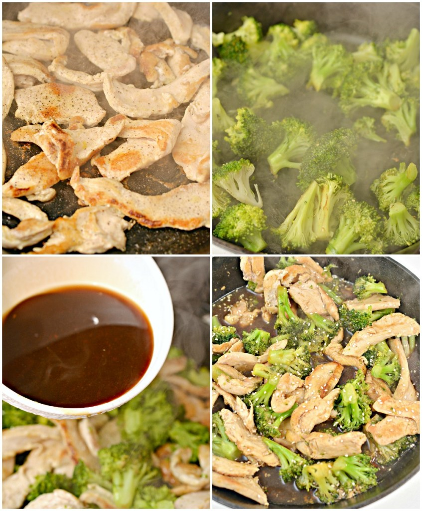 process of shots of making chicken and broccoli in skillet