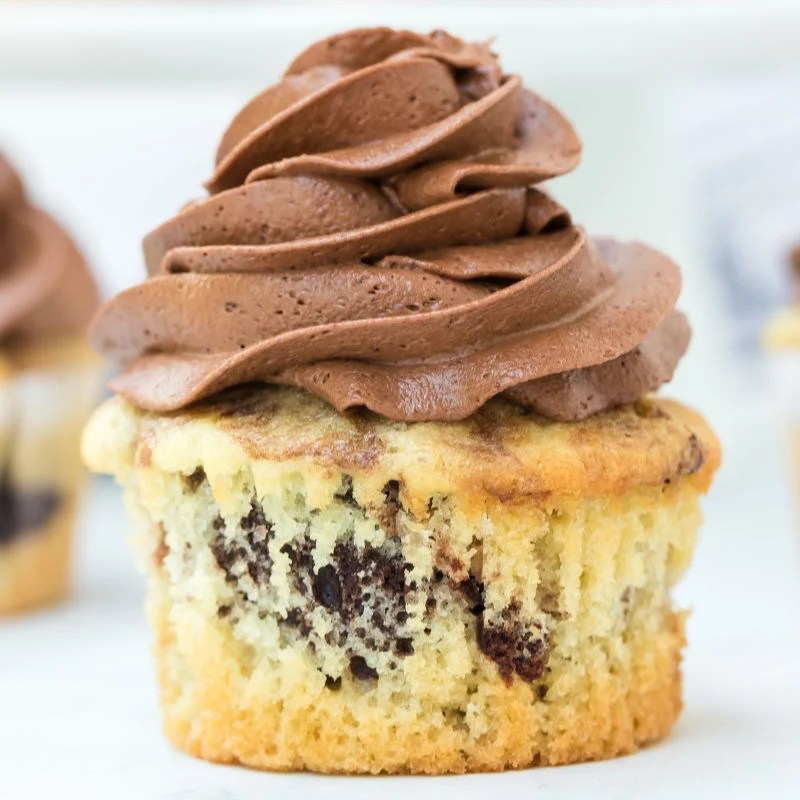 single marble cupcake topped with chocolate buttercream