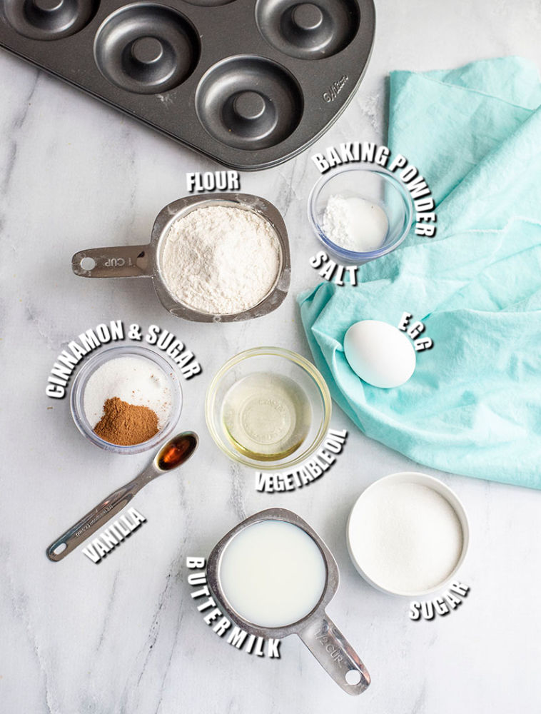 ingredients measured out to make baked donuts