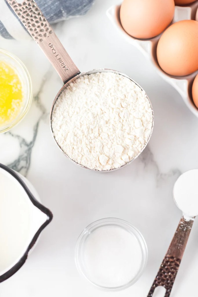 pancake ingredients in measuring cups