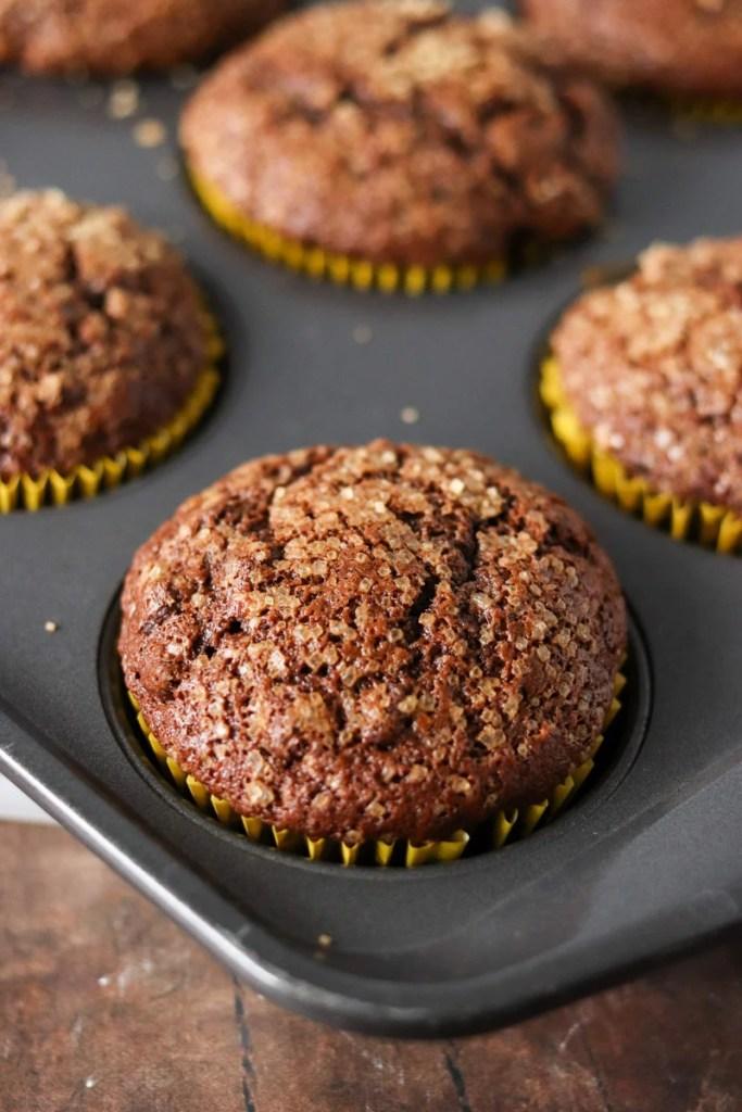 chocolate banana muffin in baking pan