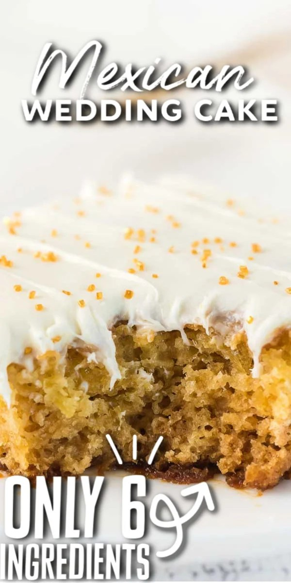 This Mexican Wedding Cake recipe is exactly what you want when making a cake from scratch, fast, easy and incredibly delicious. Made with only six ingredients and a few simple steps, this tender and moist cake is full of pineapple flavor topped with a delicious cream cheese frosting. It is the perfect cake to serve for a Mother's Day brunch, a wedding or an after dinner dessert!   www.persnicketyplates.com