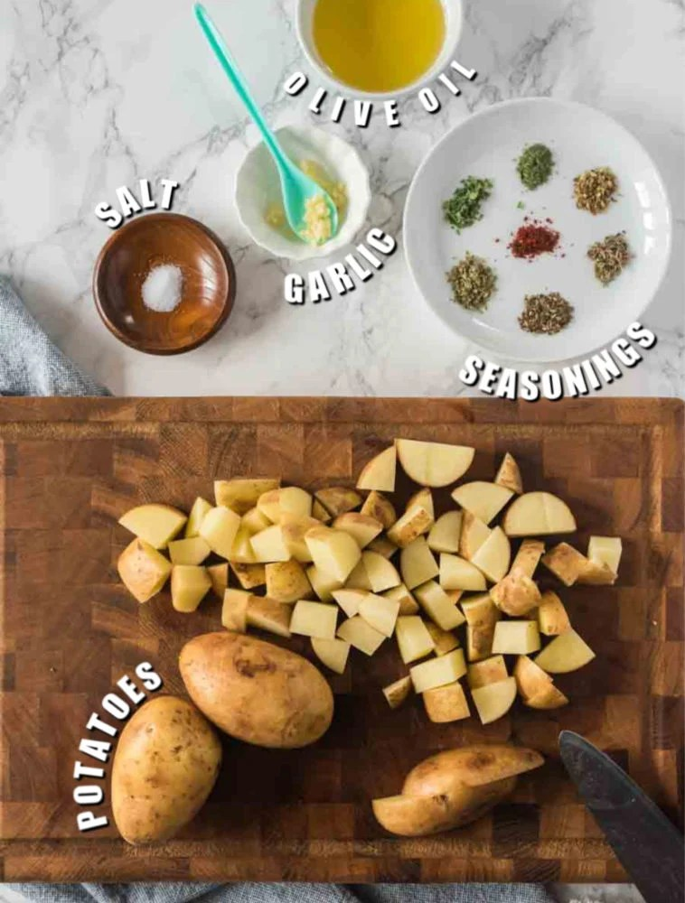 overhead shot of diced potatoes & seasonings
