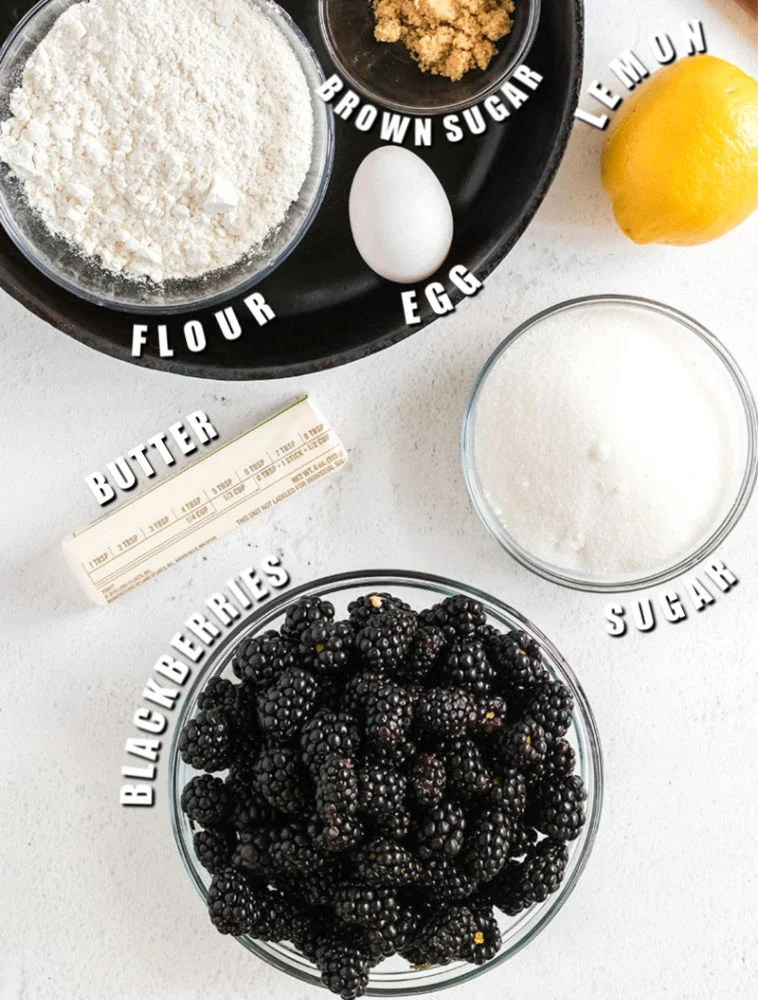 overhead shot of ingredients laid out to make blackberry crumble