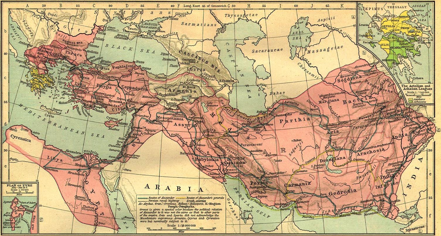 Alexander the Great's Empire upon his death in 323 BC at the age of 32