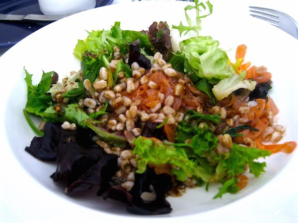 Smoked Salmon and spelt salad with balsamic dressing