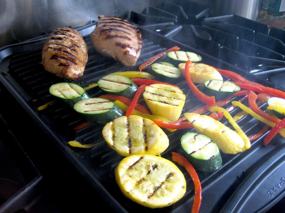 Grill vegetables right along with your entree